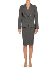 Tahari By Arthur S. Levine Plaid Four Button Blazer Grey