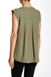 Pleione Pleated Back Woven Tee Green