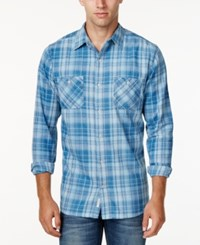 Weatherproof Vintage Men's Yarn Dye Plaid Long Sleeve Shirt Only At Macy's Med Indigo
