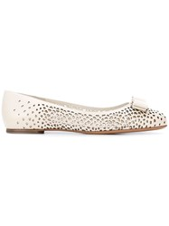 Salvatore Ferragamo 'Varina' Laser Cut Ballerina Flats Women Calf Leather Leather 5 Nude Neutrals