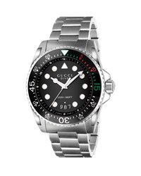 Gucci 45Mm Dive Stainless Steel Bracelet Watch Black