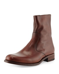 Magnanni For Neiman Marcus Leather Short Zip Boot Mid Brown