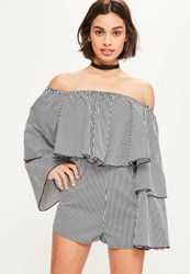 Missguided Black Striped Long Sleeve Bardot Playsuit