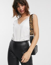 French Connection Lace Trim Tank White