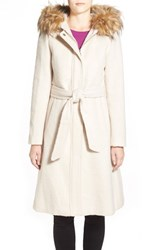 Women's Eliza J Belted Brushed Wool Blend Fit And Flare Coat With Faux Fur Trim Hood Pearl