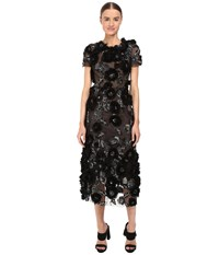 Marchesa Tulle Cocktail With Gunmetal And Jet 3D Feather Flower Embroidery Black