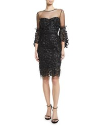 Milly Chrissy Embroidery And Feather Dress Black
