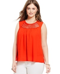 Eyeshadow Plus Size Sleeveless Crochet Trim Illusion Top Grenadine