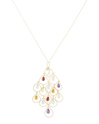 Nanis Mixed Stone And Garnet Amor Oversized Chandelier Necklace