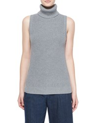 Michael Michael Kors Sleeveless Shaker Knit Turtleneck Pearl Heather