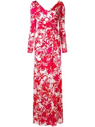 Roberto Cavalli Floral Sketch Dress Red