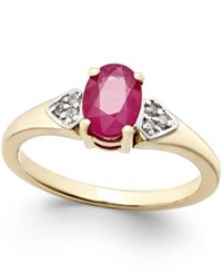 Macy's Ruby 1 Ct. T.W. And Diamond Accent Ring In 14K Gold Red