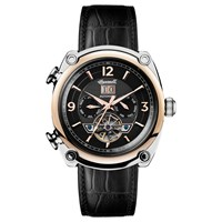 Ingersoll Men's The Michigan Automatic Chronograph Date Heartbeat Leather Strap Watch Black
