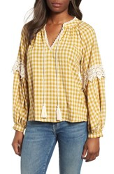 Everleigh Gingham Check Peasant Top Mustard White Gingham