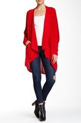 Sweet Romeo Open Front Mesh Stitch Cardigan Red