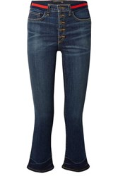 Veronica Beard Carolyn Cropped High Rise Flared Jeans Blue
