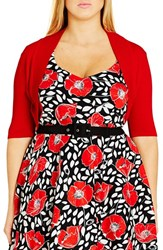 City Chic Plus Size Women's 'Party' Knit Shrug Red
