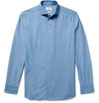 Hackett Slim Fit Cutaway Collar Textured Cotton Shirt Light Blue