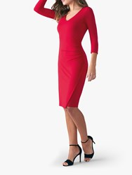 Pure Collection V Neck Bodycon Jersey Dress Scarlet