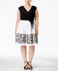 Sl Fashions Plus Size Belted Colorblocked Fit And Flare Dress Black White
