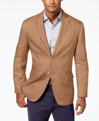 Tasso Elba Men's Island Solid Linen 2 Button Blazer Created For Macy's Safari Tan