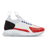 Versace White And Red Chain Prene Reaction Sneakers