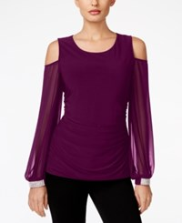 Msk Cold Shoulder Embellished Cuff Top Luxe Plum