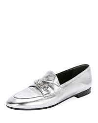 Tom Ford Metallic Loafers With Chain Detail Silver