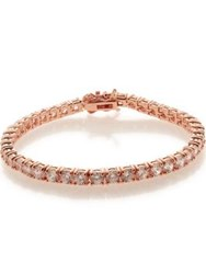 Cz By Kenneth Jay Lane Cubic Zirconia Classic Tennis Bracelet Rose Gold Plated