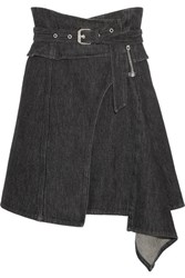 Isabel Marant Eydie Asymmetric Wrap Effect Denim Skirt Black