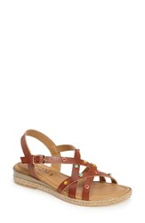 Tuscany Women's By Easy Street Renata Studded Strappy Sandal Cognac Faux Patent