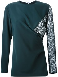 Carven Lace Panel Blouse Green