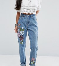 Glamorous Petite Boyfriend Jean With Painted Floral Blue