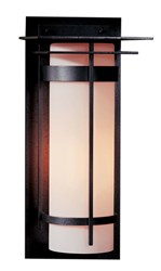 Hubbardton Forge Banded With Top Plate Large Outdoor Sconce Incandescent Natural Iron Opal Silver