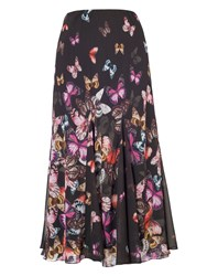 Chesca Butterfly Print Border Skirt Black