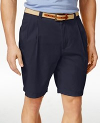 Club Room Men's Double Pleated Cotton Shorts Only At Macy's Officer Navy