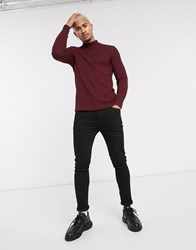 Bershka Join Life Waffle Long Sleeved Top With Turtleneck In Burgundy Red