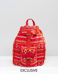 Reclaimed Vintage Tapestry Mini Backpack In Red Red
