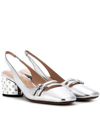 Marc Jacobs Metallic Leather Sling Back Pumps Silver