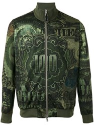 Givenchy Dollar Print Bomber Jacket Green