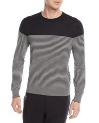 Zegna Sport Striped Silk Blend Sweater Blue