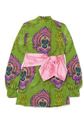 Gucci Bow Embellished Printed Silk Crepe De Chine Tunic Green