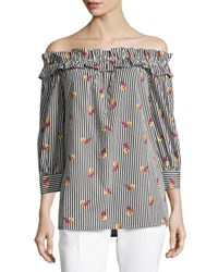 Neiman Marcus Little Flowers Off The Shoulder Top Black White