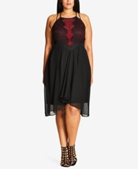 City Chic Trendy Plus Size Mixed Media Party Dress Black