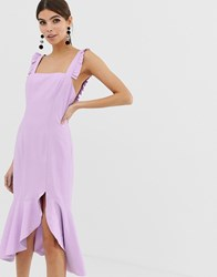 Finders Keepers Exclusive Frill Midi Dress Purple