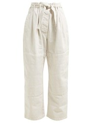 Christophe Lemaire Martial Cotton Twill Trousers Ivory