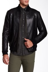 Zachary Prell Covent Garden Wool Blend Trim Genuine Leather Jacket Black