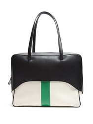 Tibi Papa Leather And Canvas Tote Black Green
