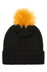 Topman Men's Knit Beanie With Faux Fur Pompom