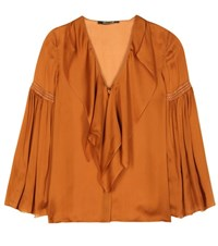 Roberto Cavalli Silk Top Brown